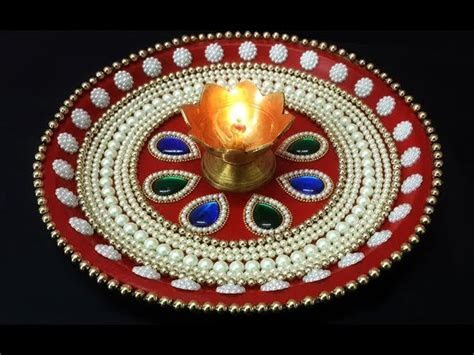 DIY Diwali Puja Thali Decoration, Handmade Thali for