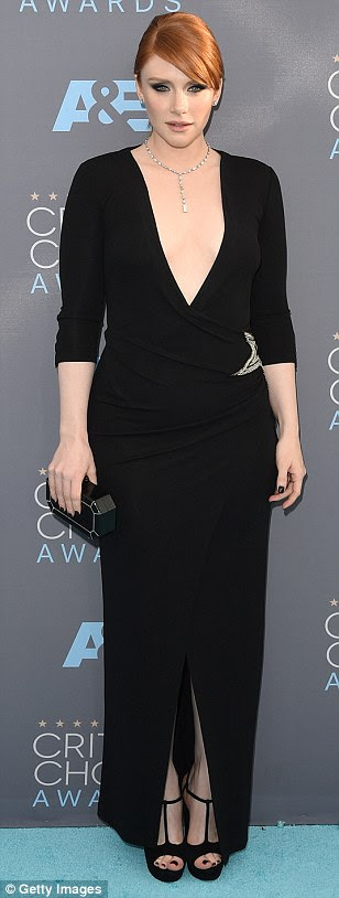 Magic in monochrome: (L-R) Amy Schumer, Rosie Huntington-Whiteley and Bryce Dallas Howard led the arrivals at the Critics' Choice Awards in Los Angeles on Sunday in black and white gowns