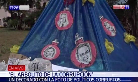 Políticos Decoran árbolito De Navidad De Corrupción Frente Al