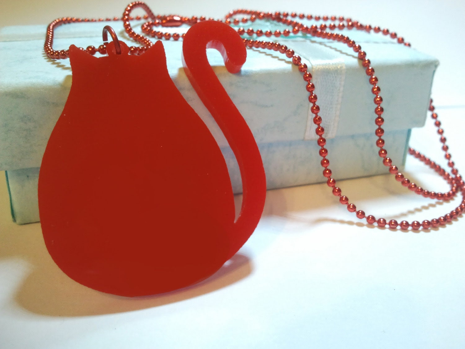 Original Acrylic Plastic Red Cat charm pendant Cool Emo Kawaii ball chain necklace Israel made - waterdewsf