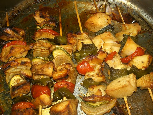 asian flavoured chicken souvlaki