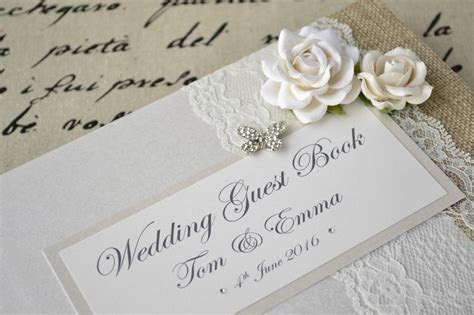 Luxury Personalised Wedding Guest Book & Album Set. Lace