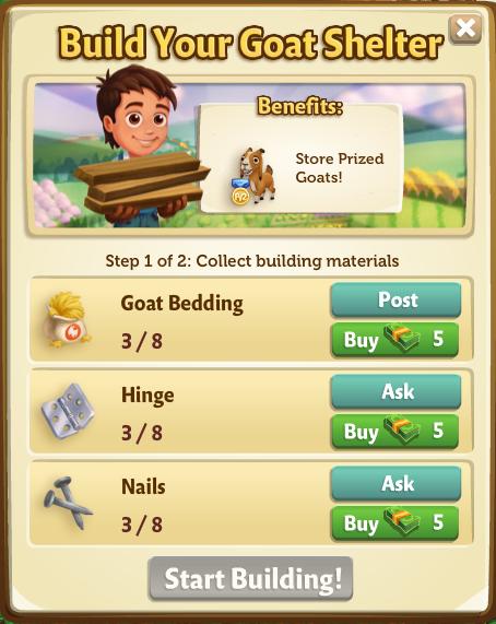 Goat Shelter - Build Materials - FarmVille 2
