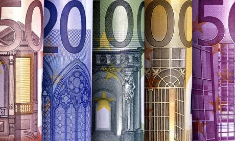 Close-up of euro notes