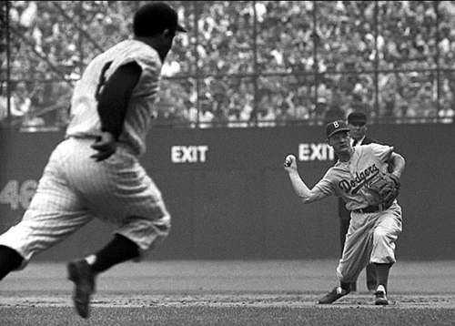 Don Zimmer throwing out Yogi Berra during the World Series (1955)