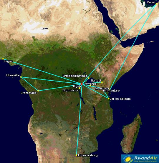 RwandAir's Network [Click to enlarge]