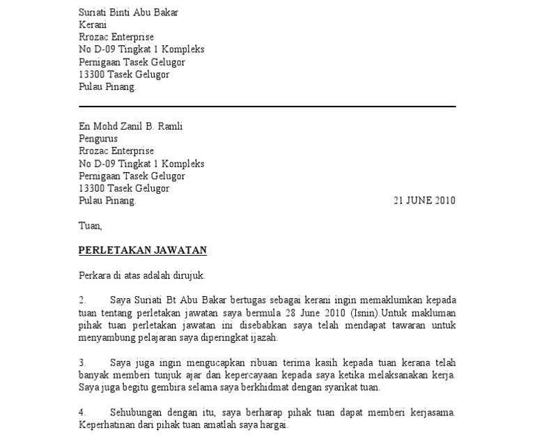 surat rasmi notis perletakan jawatan wrasmi