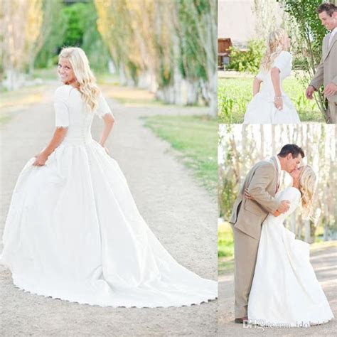Cheap Modest Plus Size Wedding Dresses With Sleeves Lace