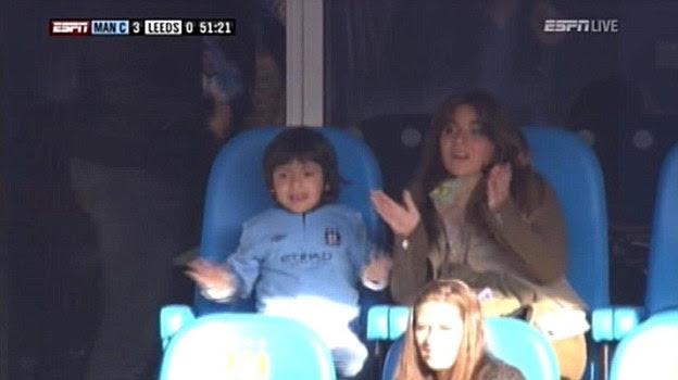 Support: Sergio Aguero's son, Benjamin, watches