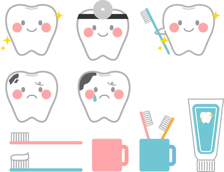 フリーイラスト 10種類の歯と歯ブラシのセットでアハ体験 Gahag