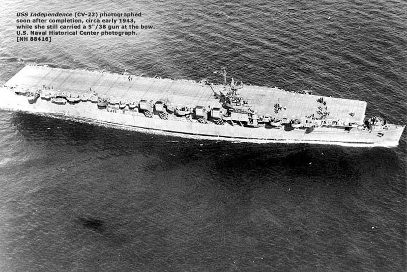 USS Independence (CV 22) as first launched (later redesignated CVL 22)