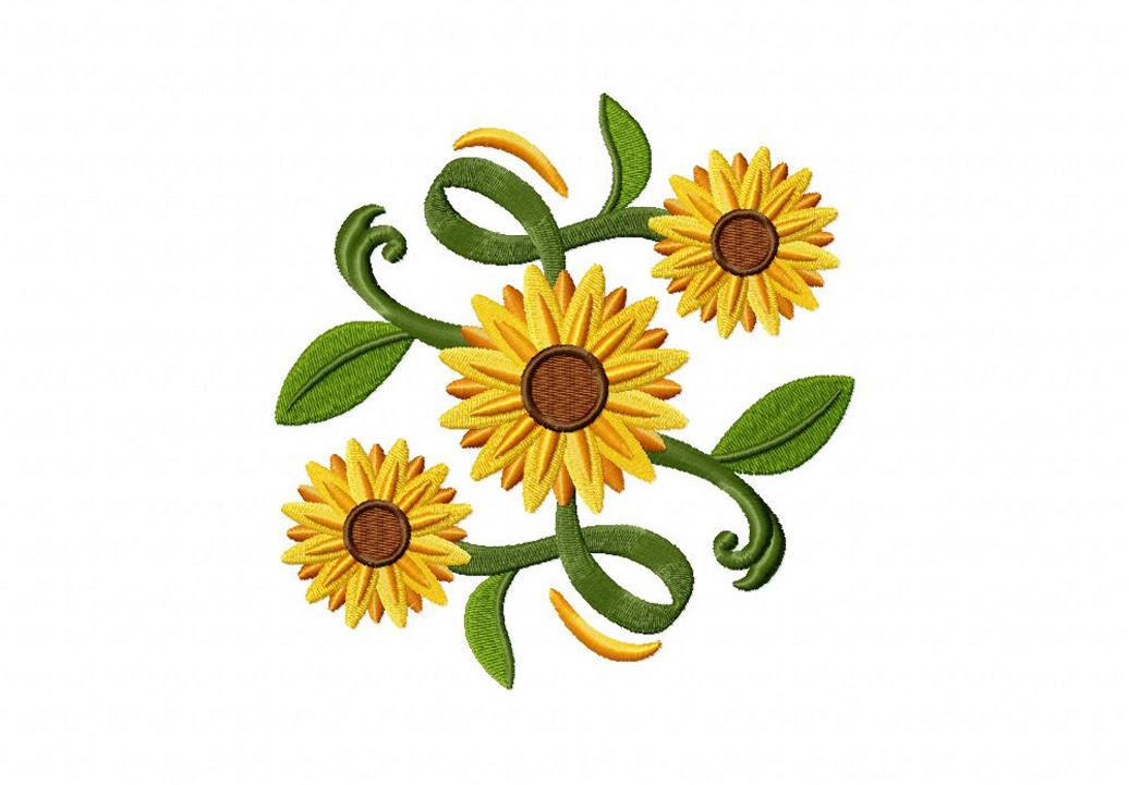 Classic Sunflower Square Machine Embroidery Design - Daily ...