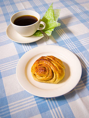 English: A Finnish cinnamon roll, korvapuusti....