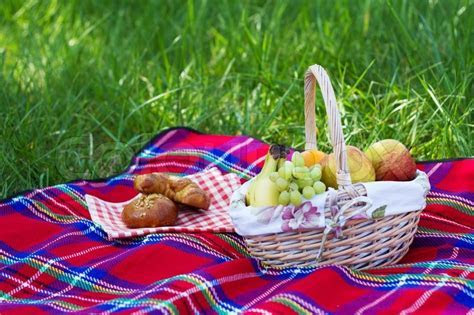 Picnic basket standing over a green grass background