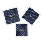 Monogram Dark Blue and Gold Stripes Square Serving Trays