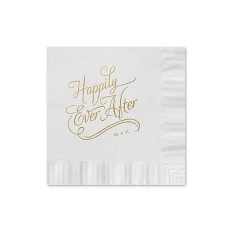 Happily Ever After Foil Cocktail Napkin   Invitations By Dawn