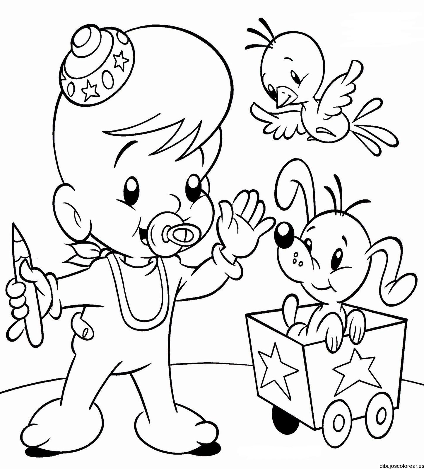 Dibujo De Un Bebe Con Perro Y Un Canario