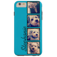 Instagram Collage - 4 photos blue background Tough iPhone 6 Plus Case