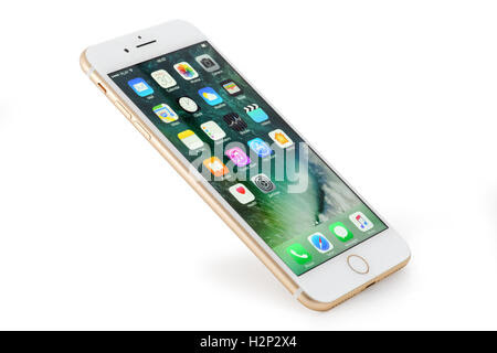 Golden iPhone 7 Plus on white background Stock Photo, Royalty Free Image: 122187130  Alamy