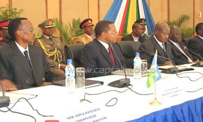 East African Community (EAC) presidents Paul Kagame of Rwanda, Jakaya Kikwete of Tanzania, Yoweri Museveni of Uganda and Mwai Kibaki of Kenya. The EAC is expected to reject Somalia and South Sudan as members. by Pan-African News Wire File Photos