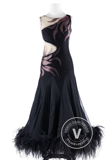 Gorgeous Black Feather Ballroom Smooth Competition Dance Dress