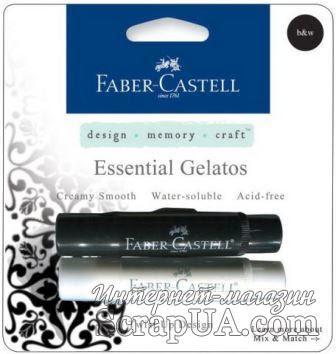 Набор пигментных мелков от Faber Castell - Gelatos (Джелатос) - BLACK/WHTE GELATOS, 2 шт. - ScrapUA.com