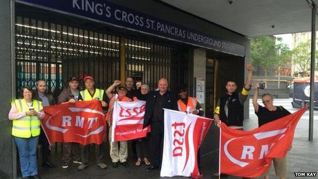 RMT picket line at King's Cross