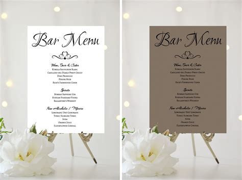 A4 A5 WEDDING SIGN   PERSONALISED   BAR MENU