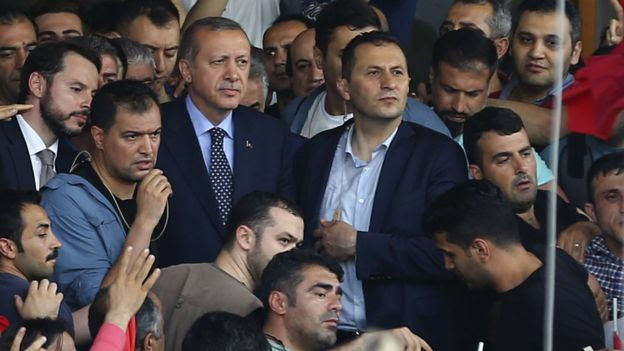 Arriving at Ataturk airport in Istanbul, President Erdogan was greeted by hundreds of supporters