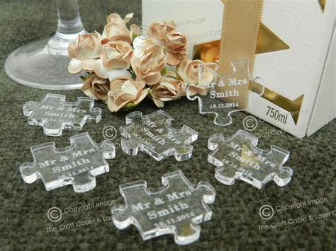 personalised clear puzzle pieces favours table