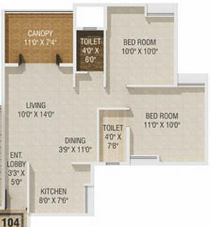 2 BHK Flat in Gagan Akanksha Prayagdham - 570 Carpet + Terrace - 1st Floor - Rs. 21,33,544 + 75,000 Parking +16,800 Advance Maintenance of 24 Months + 42,000 Corpus fund