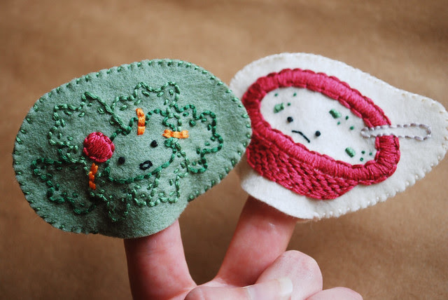 embroidered finger puppets