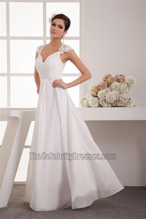 Floor Length Chiffon Lace Cap Sleeve Wedding Dress Bridal