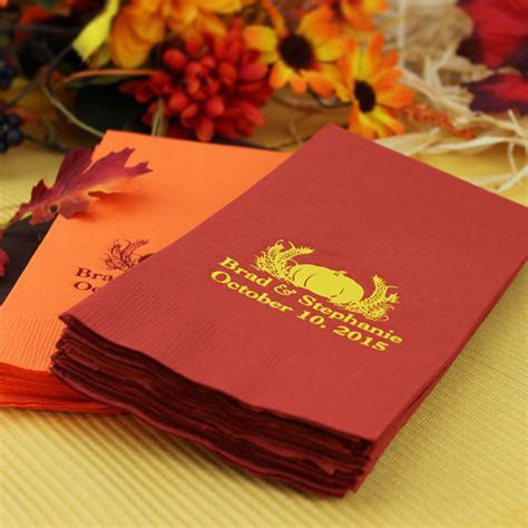 Personalized Paper Guest Towels   Fall Pumpkin   My