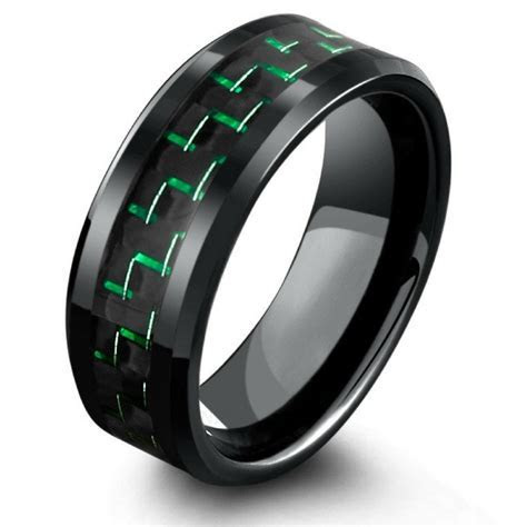 8mm Black Tungsten Wedding Band With Green & Black Carbon