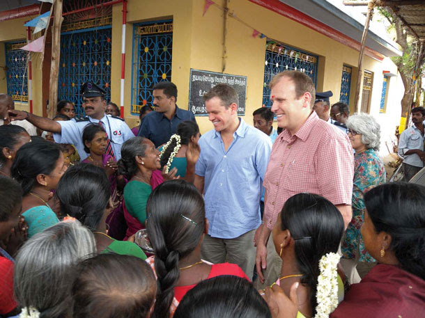 In 2009, Damon and Gary White cofounded Water.org. That same year, they visited this town in the Indian state of Tamil Nadu. Their initial trips into the field included a foray to South African slums while Damon was shooting <i>Invictus</i>. | Courtesy of Water.org