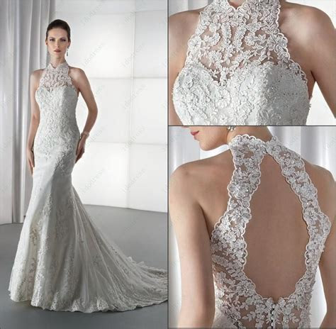 Charming High Neck Lace Bridal Wedding Dress Sheath