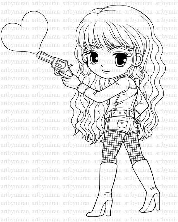 Digi Stamp, Pretty Girl Coloring page, Heart Digital Stamp, Printable Line art for Card and Craft Supply, Art by Mi Ran Jung