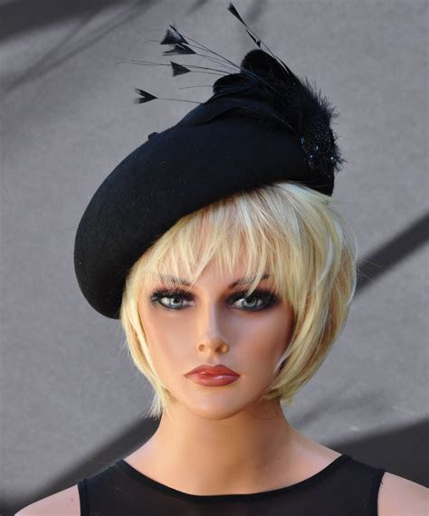 Black Hat, Winter Wedding Hat, Derby Hat, Cocktail Hat