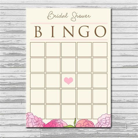 BRIDAL SHOWER BINGO card   instant printable download