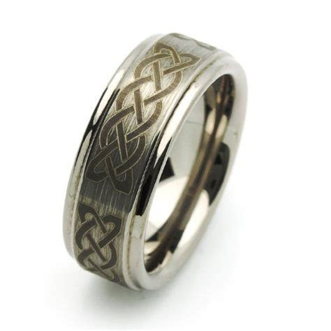 8MM Comfort Fit Tungsten Wedding Band Celtic Knot Engraved
