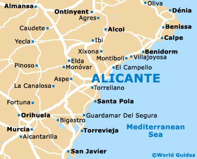 Karta Fran Alicante Till Torrevieja.Jamfor Forsakringar Alicante Karta