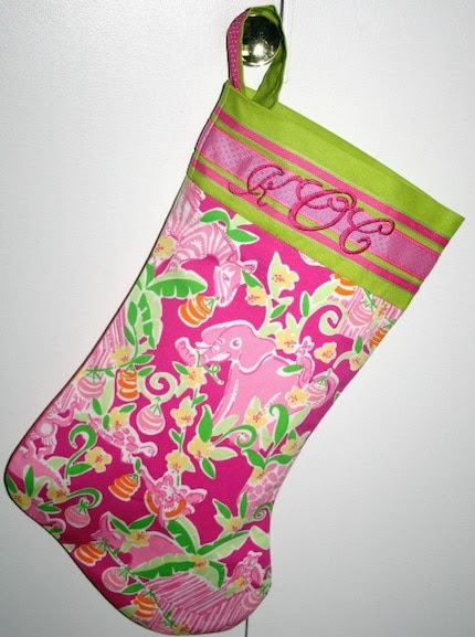 Lilly Pulitzer  Custom Crafted Monogramed Christmas Stocking