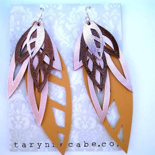 Leather Leaves Earrings by tomgirl on Etsy