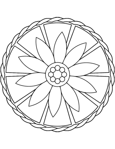Simple Mandala with Flower coloring page | Free Printable ...