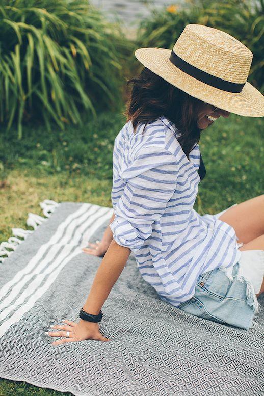 Le Fashion Blog 25 Ways To Wear A Striped Button Down Shirt Wide Brim Hat Cut Offs Via This Time Tomorrow Horizonatal Blogger Style