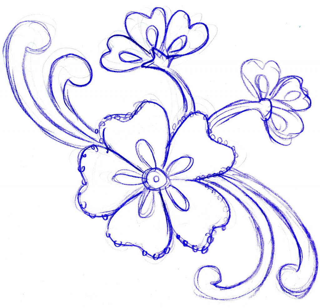 Floral Design Drawing Simple Get Images