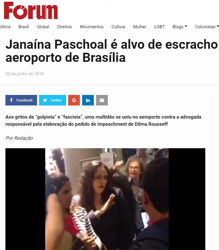 "Revista Fórum comemora ""esculacho"" em Janaína Paschoal no aeroporto"