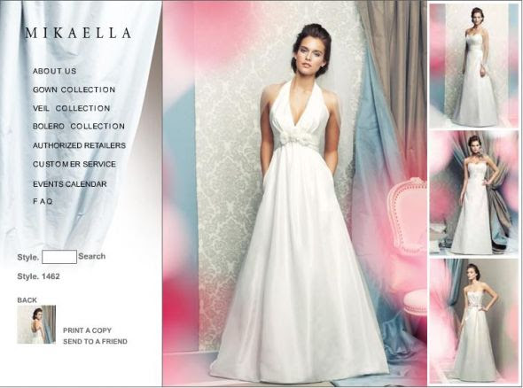 Trying to ID a dress wedding dress halter pockets Mikaella 1462