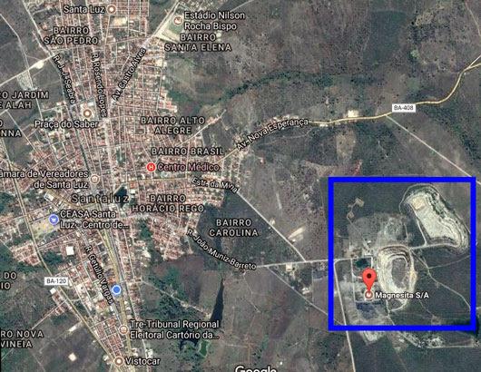 Mina está localizada em fazenda a cerca de 1,8 km da área urbana da cidade